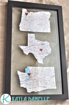 "Kayla Danelle: Pinterest Challenge: Map Art  Google ""state reference map"" and print on map paper or photo paper. Use a cut up map in your printer or get a sheet of map paper from the scrap book section at the craft store. Sparkly red heart was used."