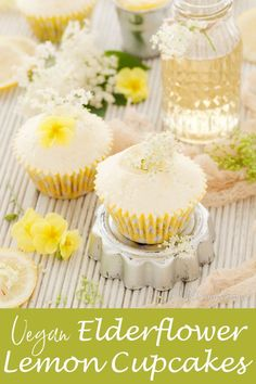 Vegan Lemon Elderflower Cupcakes combine delicate elderflower sponge cakes with homemade vegan lemon curd and a tangy, fresh & sweet lemon curd frosting. Lemon Desserts, Healthy Dessert Recipes, Cupcake Recipes, Delicious Desserts, Yummy Food, Vegan Recipes, Yummy Yummy, Gluten Free Cupcakes, Vegan Cupcakes