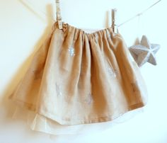 Girls Skirt - Linen and Tulle Skirt - French Style - Sizes 12M to 5T