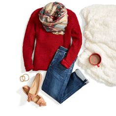 Baby it's cold outside! Cozy up in a waffle knit sweater, relaxed boyfriend jeans & a festive plaid scarf.