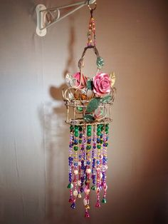 Victorian jeweled hanging boho chic beaded basket by MagpieDoodads