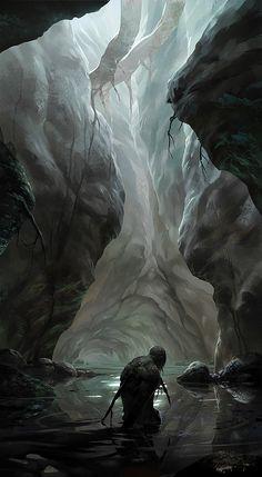 The Earth's Womb © albino-Z on deviantART. Fantasy Concept Art, Sci Fi Fantasy, Fantasy Artwork, Fantasy World, Dark Fantasy, Fantasy Art Landscapes, Fantasy Landscape, Landscape Art, Fantasy Places