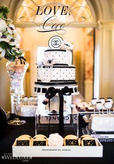 Chanel inspired dessert display for a bridal shower. Bobbette & Belle.