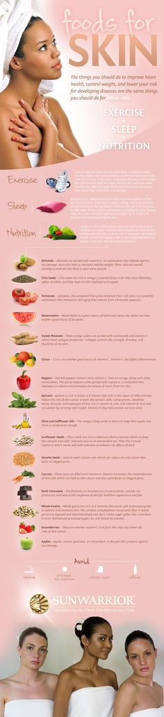 Embrace foods, exercise and sleeping habits that will improve your skin tone, energy and overall skin health.