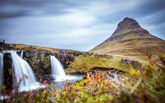 Download wallpapers 4k, Kirkjufell Mount, waterfalls, Icelandic landmarks, Europe, Abenrot, Iceland