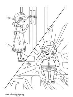 Elsa won't play with Anna. After the accident, she is afraid she might hurt her sister again. Enjoy this nice Disney Frozen coloring page!