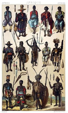 Africa: people from the West African coast - Gabon, Guinea, Senegal… Auguste racinet, from Le costume historique (The costume history) vol. 2, under the direction of A. Racinet, Paris, six volumes published between 1877 and 1886.