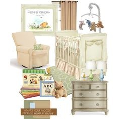 Vintage Pooh Nursery by luckied99 on Polyvore featuring interior, interiors, interior design, home, home decor, interior decorating, Eclipse, Oilo, AFK and Disney
