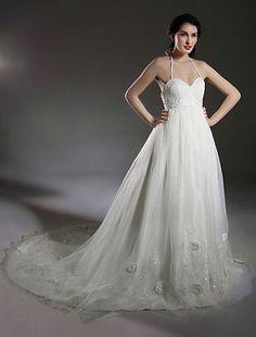 A-line Halter Court Train Taffeta Mermaid Wedding Dress With Beaded Appliques