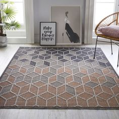 Dartmouth Kinsley Geometric Patterned Rugs in Cream and Grey buy online from the rug seller uk Pink And Grey Rug, Grey Rugs, Geometric Rug, Geometric Designs, Polypropylene Rugs, Dartmouth, Visual Effects, Sophisticated Style, Contemporary
