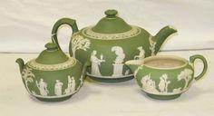 Wedgwood Green Jasperware Tea Set Teapot, Sugar, Creamer.