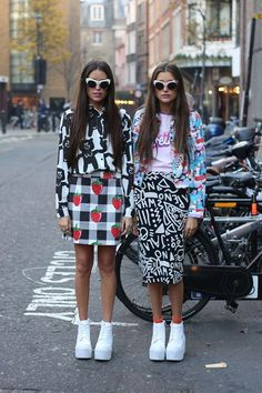 """Stef: """"Wearing Lazy Oaf in the label's hometown, London.""""Jess: """"These are the only people we know who love quirky prints as much as we do!"""""""