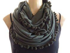 Pompom Necklace ScarfArmy green/Olive by Textilemonster on Etsy, $18.00