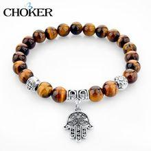 251c89bb8313 Piedra del ojo del tigre colgante pulseras de los brazaletes de moda plata  fátima mano pulseras