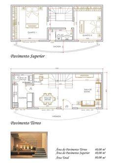 Projeto de Sobrado de 2 quartos com 80,01m²