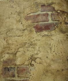 Plastered brick faux stone brown tone
