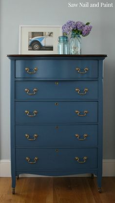 Dresser All General Finishes 2 parts Coastal Blue, 2 parts Snow White and 1 part Lamp Black.  Top 1 coat java gel stain and sealed with High Performance topcoat in satin.