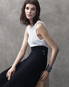 Love the simplicity. Kati Nescher in Chanel skirt