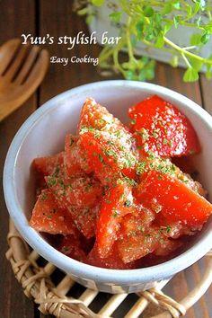 はずれトマトも劇的に美味しく!『トマトの洋風♡粉チーズ和え』《簡単*節約*副菜*作り置き》 Easy Cooking, Healthy Cooking, Cooking Recipes, Cafe Food, Food Menu, Japanese Food Sushi, Asian Recipes, Ethnic Recipes, No Cook Meals