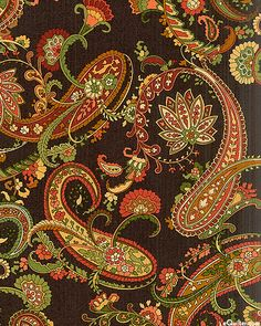 Chrysanthemum - Paisley Garden - Espresso, 'Chrysanthemum' collection by Maywood Studios.