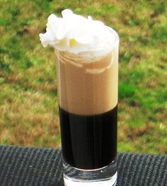 Blow Job Cocktail ..Ingredients:  .75 ounces Kahlua  75 ounces Bailey's Irish Cream  Whipped Cream  Preparation:  Pour the Kahlua into a 2 ounces Shot glass.    Next, pour the Baileys over the back of a spoon so that it floats on top of the heavier Kahlua.    Add a little Whipped Cream on the top, and it is bottoms up!