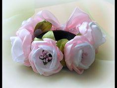 Резинка на гульку из цветов канзаши - YouTube