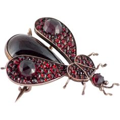 Pre-owned Victorian Garnet Gold Bug Pin ($950) ❤ liked on Polyvore featuring jewelry, brooches, boho chic jewelry, pre owned jewelry, gold jewelry, gold charms and gold brooch