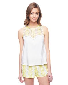 Juicy Couture | White Cotton Daisy Lace Tank, S