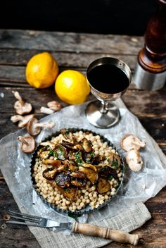 Bright and Happy [Lemon-Herb Wild Mushrooms with Israeli Couscous]   The Gouda Life