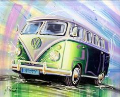 Fleetwood - SPLITTY - VW Camper Van  Originals Acrylic 60x75 cms £695.00 (inc vat)   Classic Cars by Fleetwood