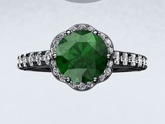 14kt Gold Black Rhodium 6.5mm Round Columbian Emerald FSI1 Diamond Halo Engagement Ring Anniversary Ring Inspired by Crowned Love Collection on Etsy, $1,590.00