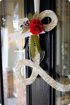 "I'm going to make an ""A"" for our front door!  If I pick the right fabric it could last all year long, then just switch out the ribbon for the time of year!!! - Fabric Covered Monogram"