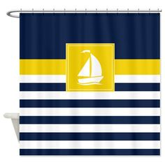 Nautical Shower Curtain Preppy Stripes with Sailboat Navy Blue  Yellow White OR Customize colors Standard Extra long sizes Custom Lemon Zest and Grey Anchor