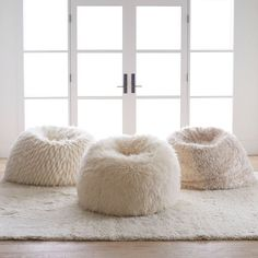 A plush slipcover makes this beanbag the softest seat in the house. Our superior-quality faux fur is as indulgent as it is beautiful. It's exceptionally woven from the finest materials for a sumptuously plush feel, and beautifully emulates the inh… White Fluffy Chair, Bedroom Chair, Bedroom Decor, Bedroom Ideas, White Bean Bags, Bean Bag Living Room, Barber Chair For Sale, Modern Bean Bags, Bean Bag Design