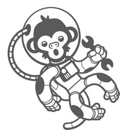 Space Monkeys Theme Wall Decal Pack - Baby & Kids Wall Decals E-Glue - Children Room Wall Decor