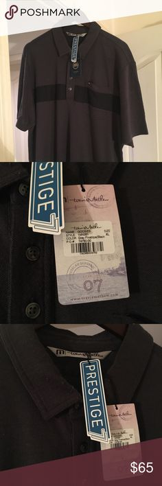 Travis Mathew Goosies Shirt. M, BNWT Brand new with tags Travis Mathew Goosies shirt. Size is M.  Color is Grey Pinstripe/Black.    Cotton poly modal blend, Antistatico treatment to prevent piling or snagging, Smaller four button double needle placket. Travis Mathew Shirts Polos