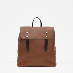 Image 1 of LEATHER BACKPACK from Zara
