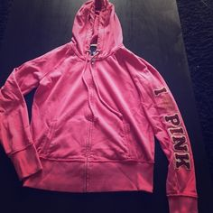 Pink by Victoria's Secret zip up hoodie Pink zip up thin hoodie! Small spots on right elbow (see image). Measures 16 inches from under arm to bottom hem PINK Victoria's Secret Tops Sweatshirts & Hoodies