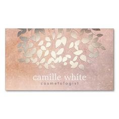 Elegant Cosmetology Faux Gold Foil Leaves Peach Business Cards. Make your own business card with this great design. All you need is to add your info to this template. Click the image to try it out!