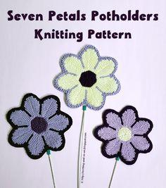 Seven Petals Potholder - Knitting Pattern by Knitting and so on Intarsia Knitting, Intarsia Patterns, Knitting Needles, Knitting Patterns, Aran Weight Yarn, Sport Weight Yarn, Crochet Hooks, Knit Crochet, Garter Stitch