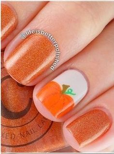 Fall pumpkin nail art design nail art pinterest pumpkin nail from drinking a pumpkin spice latte to taking the kids trick or treating try this cute nail design as coffin nails to for halloween prinsesfo Choice Image
