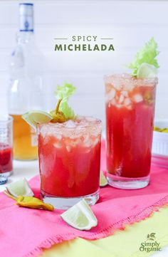 This Spicy Michelada recipe makes the perfect summer cocktail for your next brunch. | via Simply Organic