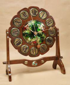 Arts Craft Walnut and Enamel Mantel Clock