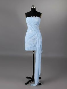Sheath Column Strapless Short Blue Wedding Dress H4lbld1130 -Price $208.99  Love it!!