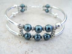 Dark Teal Glass Pearl Cuff Bracelet Memory by FeralsPassageGifts, $22.00