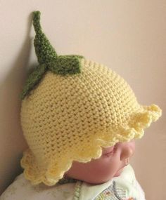 Crochet Pattern for Flower Fairy Primrose Hat. Aww I need a little flower fairy to put this on. Bonnet Crochet, Crochet Baby Hats, Cute Crochet, Crochet For Kids, Crochet Crafts, Yarn Crafts, Crochet Projects, Knit Crochet, Crocheted Hats