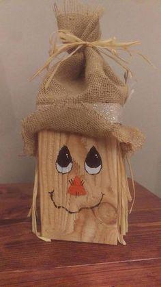 Fall Wood Crafts, Halloween Wood Crafts, Wood Block Crafts, Thanksgiving Crafts, Wooden Crafts, Fall Halloween, Holiday Crafts, Scarecrow Crafts, Vintage Halloween