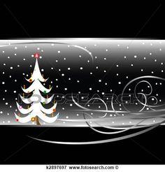 preto branco, árvore natal, cartão Ampliar Ilustração