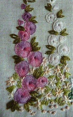 Simple and beautiful, colonial knots, buttonhole stitch and lazy-daisy stitch.