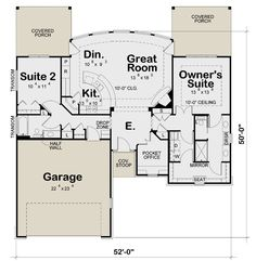 House plans ranch open floor layout laundry 54 Ideas for 2019 2 Bedroom House Plans, Porch House Plans, Cottage Style House Plans, Open House Plans, Basement House Plans, Simple House Plans, House Plans One Story, Craftsman Style House Plans, Best House Plans